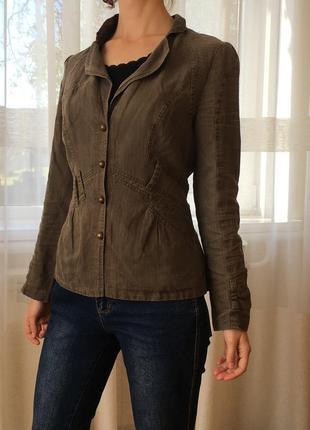 Льняной жакет в полоску блейзер в стиле милитари женский пиджак цвета хаки carole richard