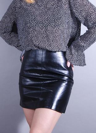 Короткая юбка, черная мини юбка, кожаная юбка, черная кожаная юбка трапеция