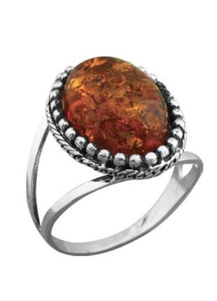 Кольцо серебро 925 янтарь 671