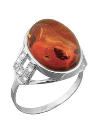 Кольцо серебро 925 янтарь 656