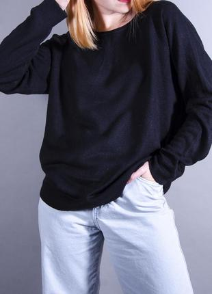 Черный пуловер, пуловер оверсайз, теплый свитер, длинный свитер, свободный свитер