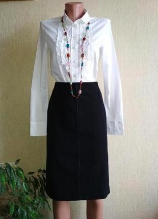 Стильная брендовая юбка, отделка швов натуральной кожей,р.36-38