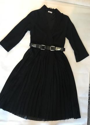 Чёрное платье пиджак миди гафре  шифон