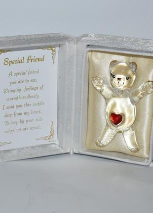 Коллекционная фигурка мишка стекло позолота в коробке с открыткой англия винтаж