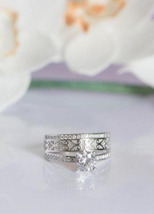 Кольцо серебро 925 двойное лк0107