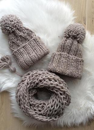 Комплект шапка и хомут полушерсть, цвет капучино