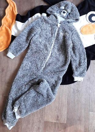 Плюшевый флисовый комбинезон человечек слип пижама кигуруми lupilu германия