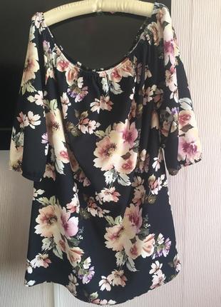 Блуза туника большой размер 22  плотный трикотаж