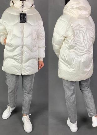 Объёмная зимняя куртка оверсайз пуховик белый био  пух