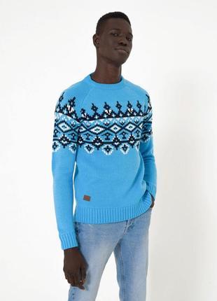 Мужской теплый вязаный свитер terranova