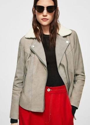 Маngo! италия. крутая курточка косуха натуральная кожа на утеплителе р. м
