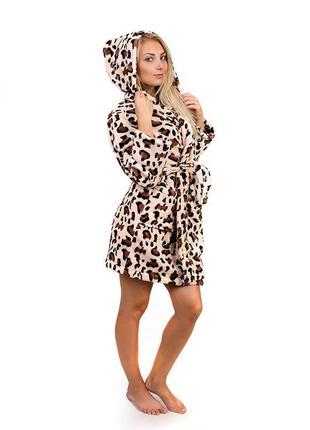 Женский махровый короткий халат леопард,в наличии размеры