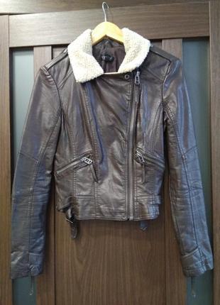 Куртка курточка косуха коричневая мягкая