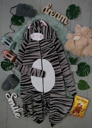 Теплая флисовая пижама кигуруми слип полосатый кот №26
