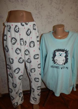 Пижама флисовая кофта + штанишки р 14-16
