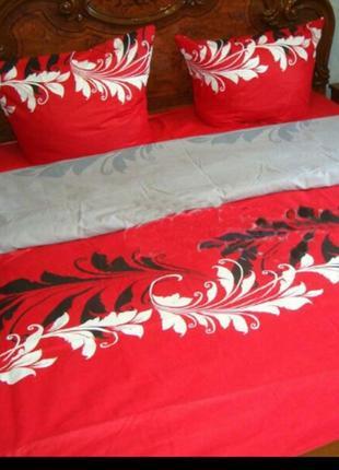 Очень красивый комплект  постельного белья красный черный серый