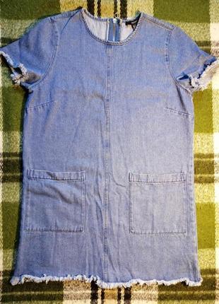 Джинсовой платье шифт, платье футболка forever