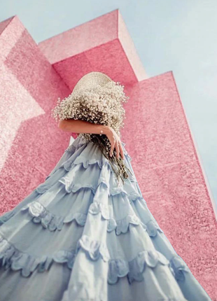 Шикарное неообычное платье с воланами  в стиле бохо как у блогеров