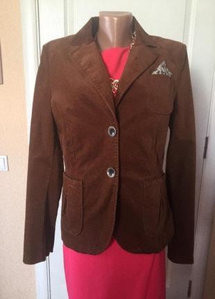 Женский пиджак жакет коричневый клубный деловой замшевый s.oliver
