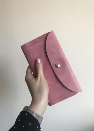 Очень красивый и нежный женский кожаный пудровый розовый кошелек ручной работы handmade