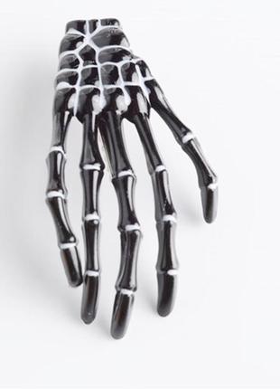 Крутая заколка для волос в стиле рок готика рука скелет черный