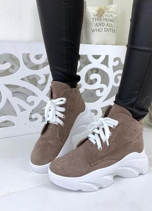Натуральная замша грубые замшевые осенние ботинки на шнурках на массивной подошве