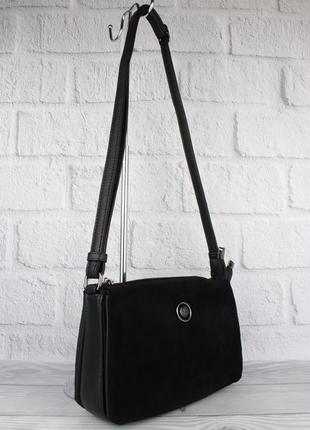 Мягкая, удобная сумочка gilda tohetti 61753-1 черная с замшевой вставкой