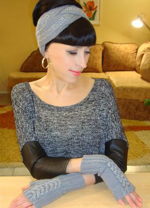 Митенки женские перчатки без пальцев вязаные - суперкомфорт