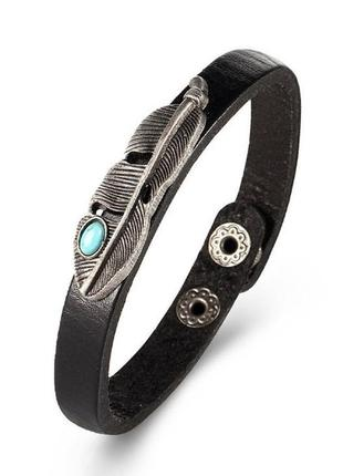 Крутой браслет с пером в бохо стиле еко кожа