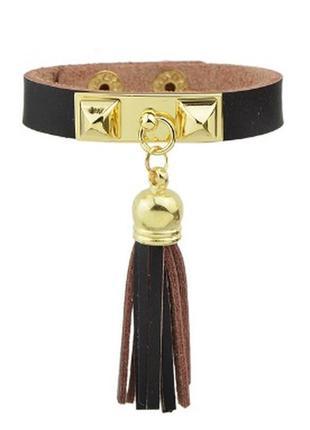 Модный кожаный браслет с кисточкой темно коричневый еко кожа эко