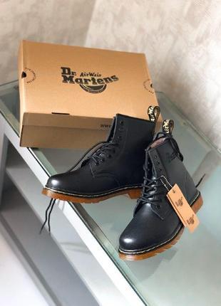 Шикарные женские зимние ботинки dr. martens 1460 blcak с мехом