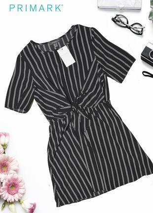 Новое полосатое платье с поясом primark