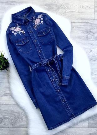 Джинсовое платье с вышивкой (с поясом)