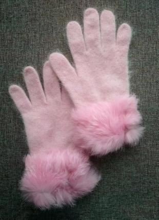 Супер мягкие и теплые розовые перчатки из ангоры с мехом, рукавиці
