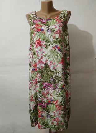 Платье натуральное красивое в цветочный принт какаду uk 14/42/l
