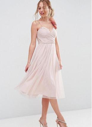 Платье нарядное шифоновое пыльно-розовое корсетное с пышной юбкой boden
