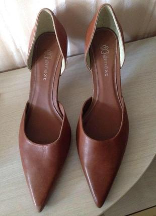 Стильные винтажные кожаные открытые туфли лодочки с острым носом next