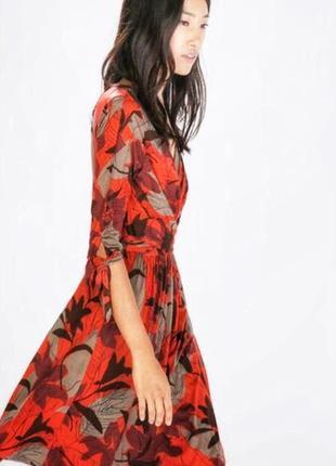 Zara basic шикарное красное платье в восточном стиле оригинал