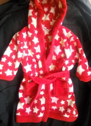 Флисовый халатик с капюшоном на годовалого малыша      mini club