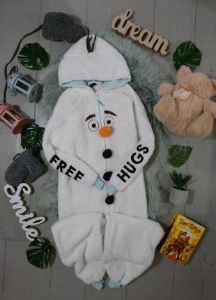Теплая флисовая пижама кигуруми слип снеговик олаф №35