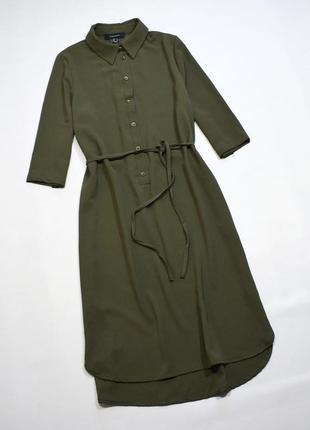 Оливкове плаття-сорочка міді з поясом