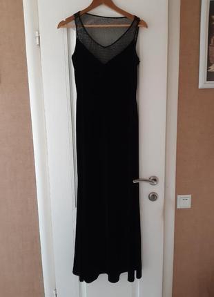 Черное бархатное платье в пол simon ellis
