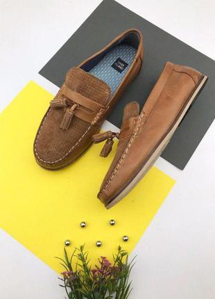 Кожаные туфли лоферы на низком ходу