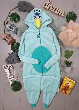 Теплая флисовая пижама кигуруми слип павлин райская птичка №36