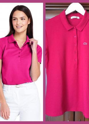 Футболка-поло оригінал lacoste,гарного рожево-малинового кольору, розмір