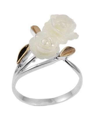 Кольцо серебро 925 с золотом роза 028