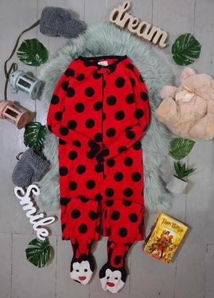 Теплая флисовая пижама кигуруми слип божья коровка №37