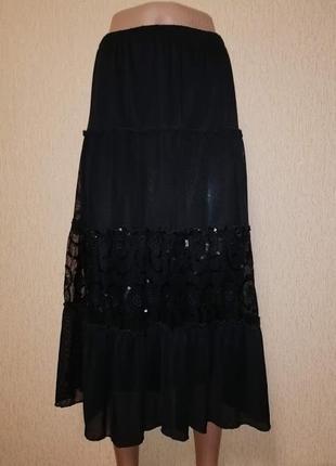 🔥🔥🔥красивая женская черная юбка батального размера hyr🔥🔥🔥