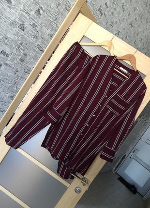 Как новый! бордовый костюм в полоску (рубашка + брюки) (бесплатная доставка)