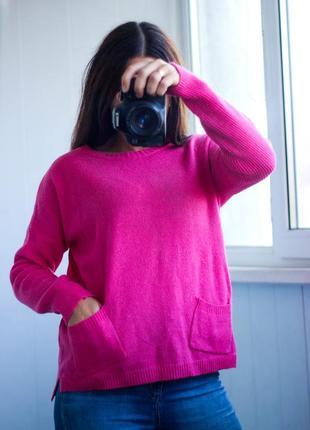 Розовый малиновый джемпер свитер шерстяной размер м